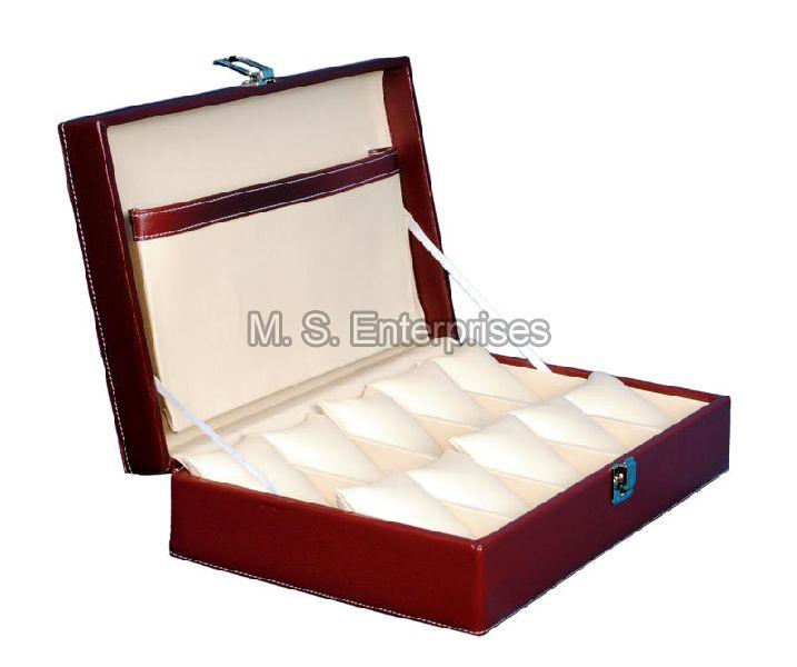 Hard Craft Watch Box Case PU Leather for 10 Watch Slots