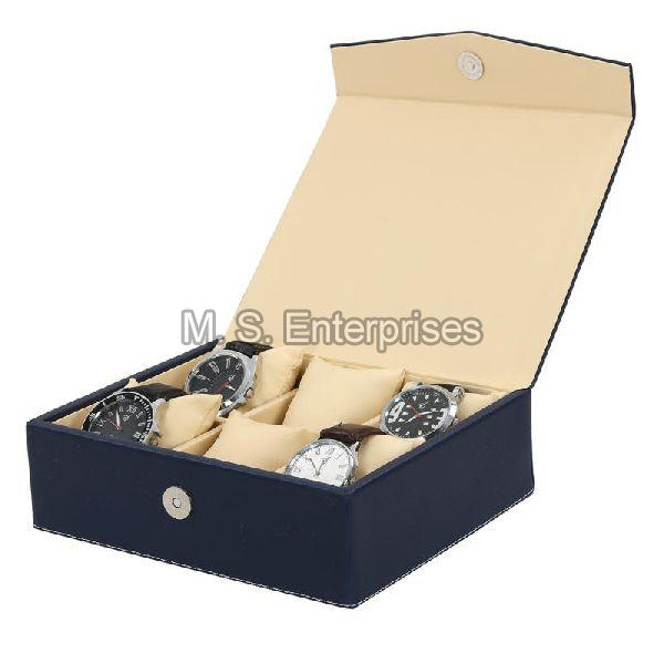 Hard Craft Watch Box Case PU Leather for 6 Watch Slots