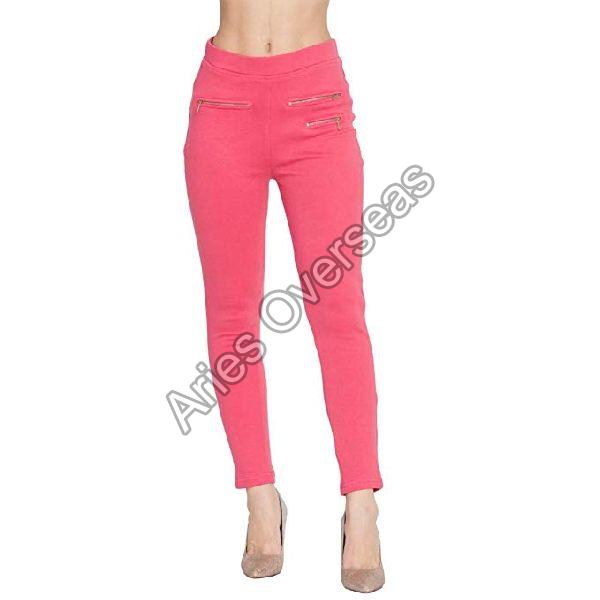 Plain Pink Jeggings