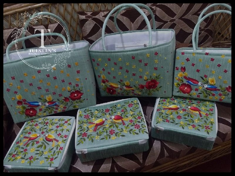 Embroidered Boxes and Baskets