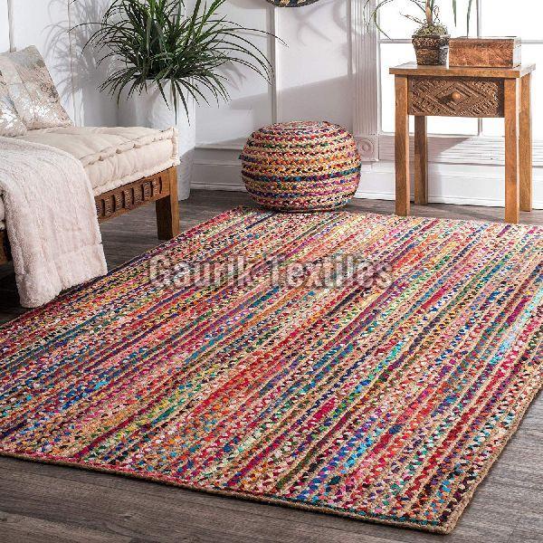 Multicolor Jute Cotton Braided Rug
