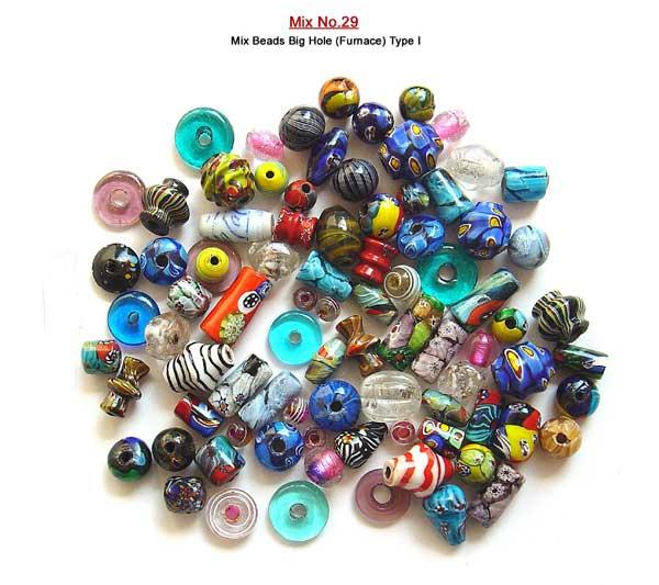 Plain & Murano Type Big Hole Mix Glass Beads