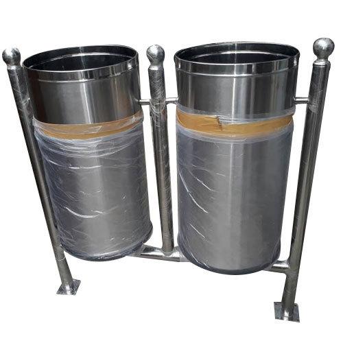Stainless Steel Dual Floor Mounted Dustbin