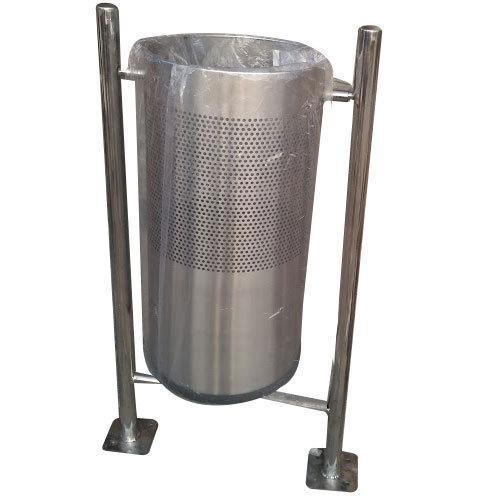 Stainless Steel Single Floor Mounted Dustbin