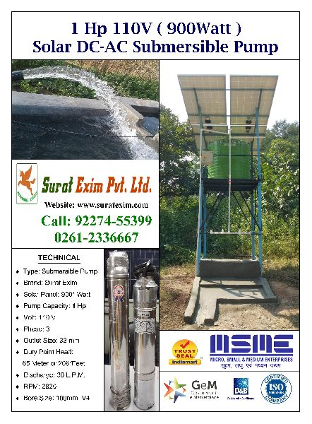 Solar Borewell Submersible Pump