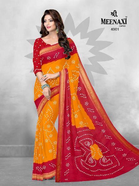 Meenaxi Rajwadi Bandhani Cotton Saree with Blouse Piece