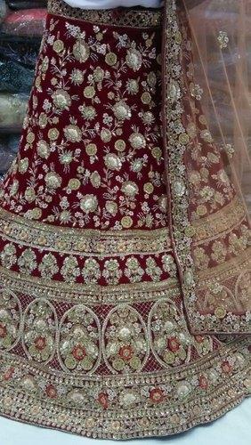 Maroon Bridal Lehenga Choli Embroidery Services