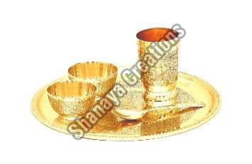 Brass Dinner Thali Set