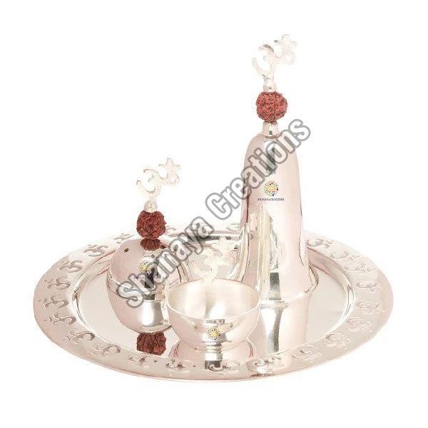 Brass Silver Pooja Thali Set