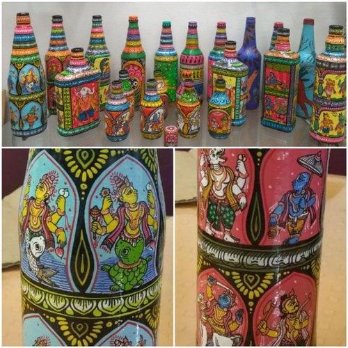 Hand Painted Decorative Bottles