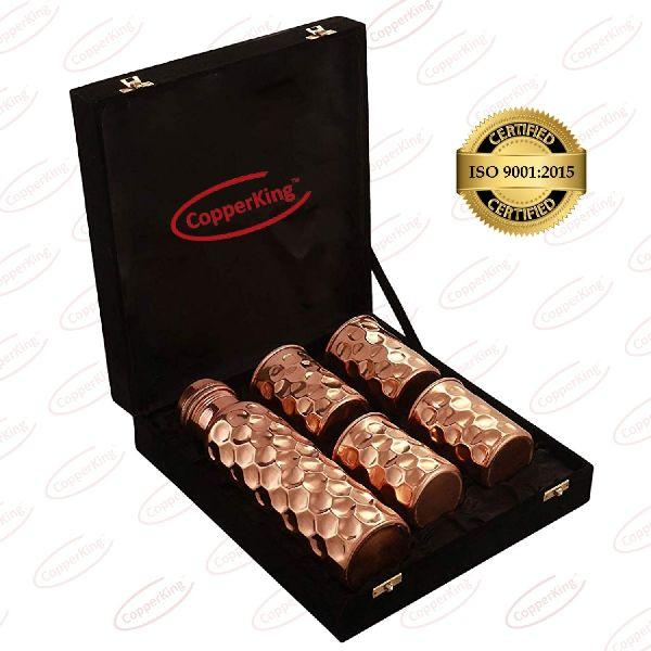 Diamond Copper Bottle Glass Gift Set