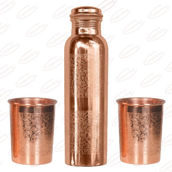 Embossed Copper Bottle Glass Gift Set