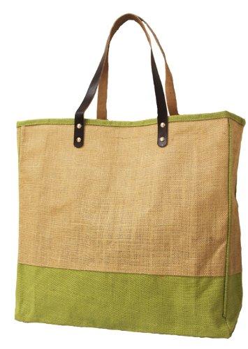 Leather Handle Burlap Square Tote Bag