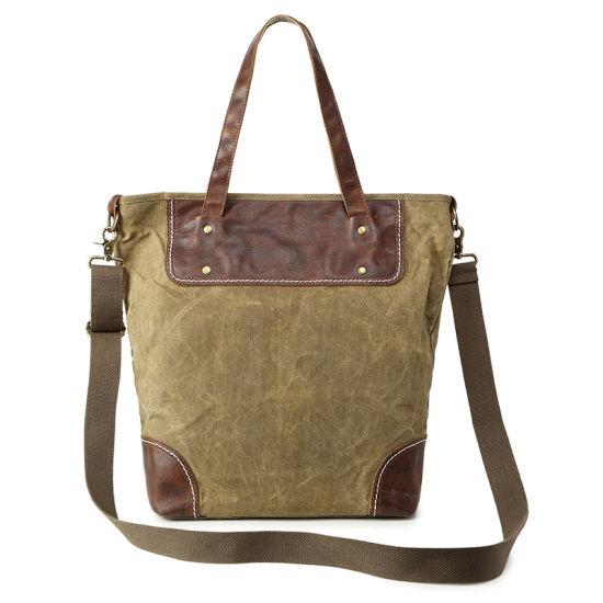 Vintage Look Canvas Shoulder Tote Bag