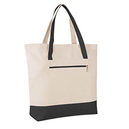 White & Blue Canvas Shoulder Tote Bag