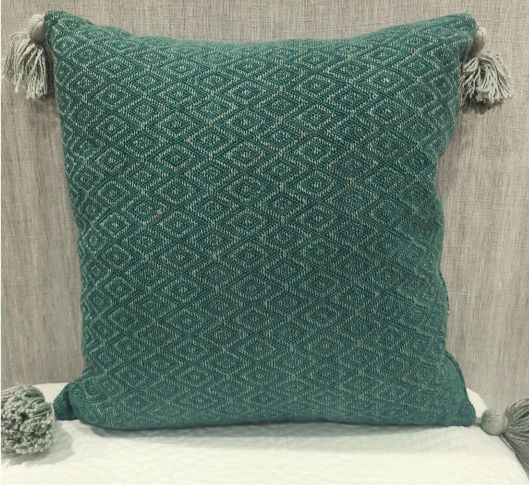 100% Cotton Woven Green Cushion Cover