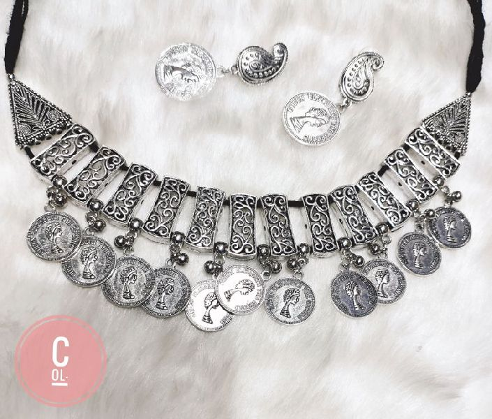 German Silver Oxidised Necklace Set
