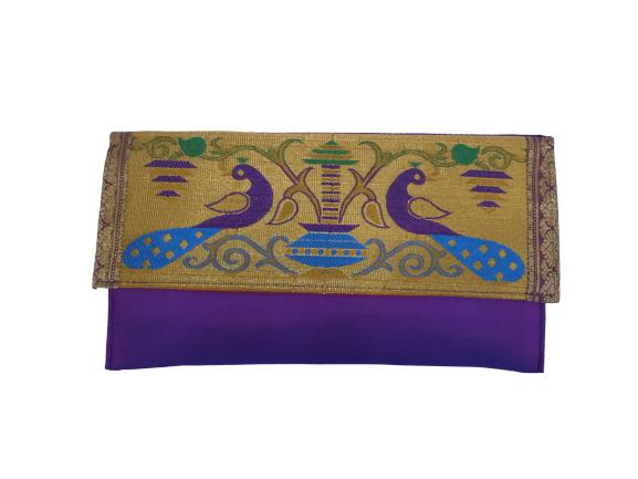 Paithani Big Flat Purse Violet