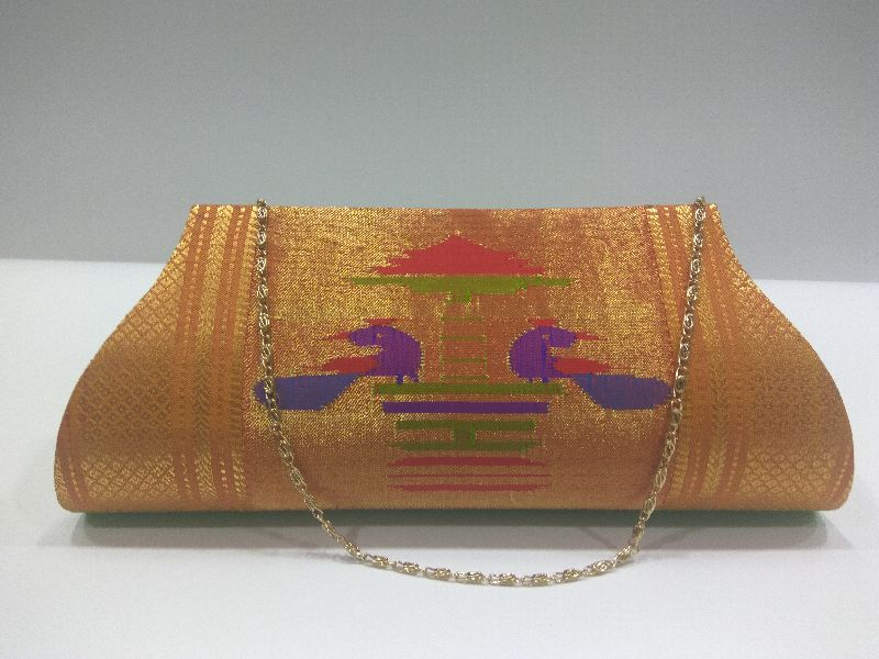 Pure Paithani Clutch Parrot Green