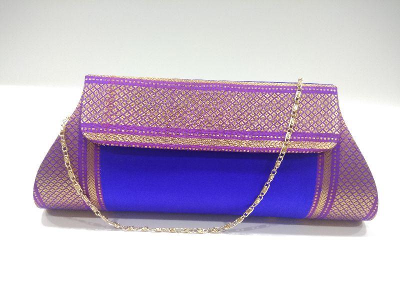 Pure Paithani Damaru Clutch Blue