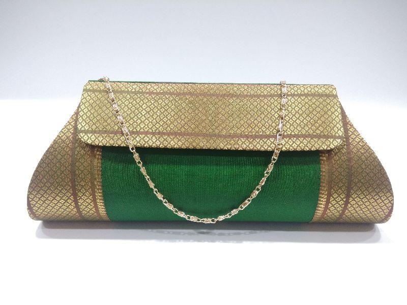 Pure Paithani Damaru Clutch Green