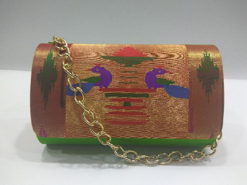 Pure Paithani Round Box Clutch Parrot Green