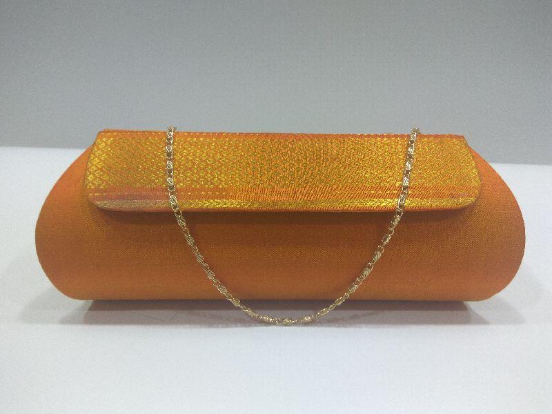 Pure Paithani Zari Clutch Orange