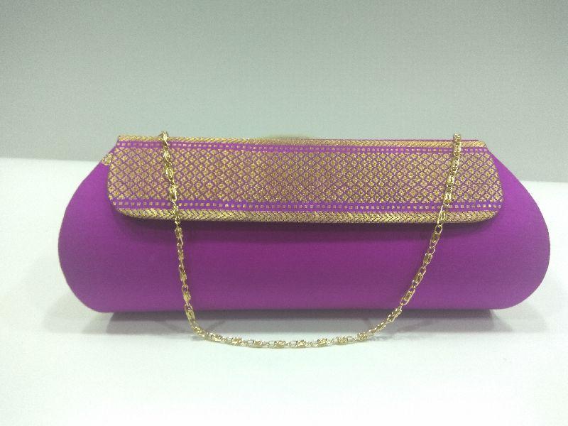 Pure Paithani Zari Clutch Purple