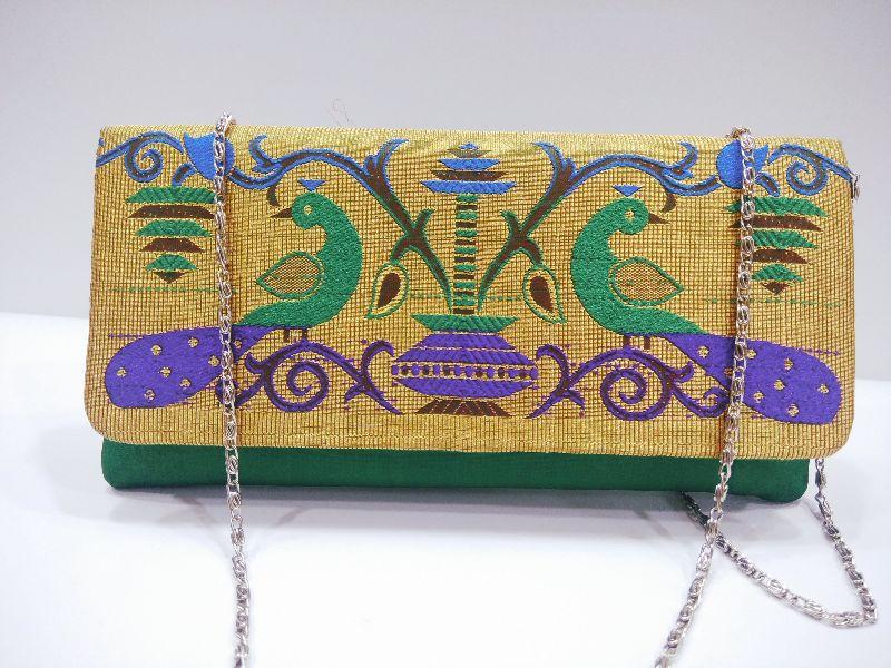 Semi Paithani Chain Sling Green