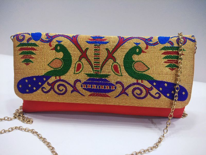 Semi Paithani Chain Sling Parrot Red