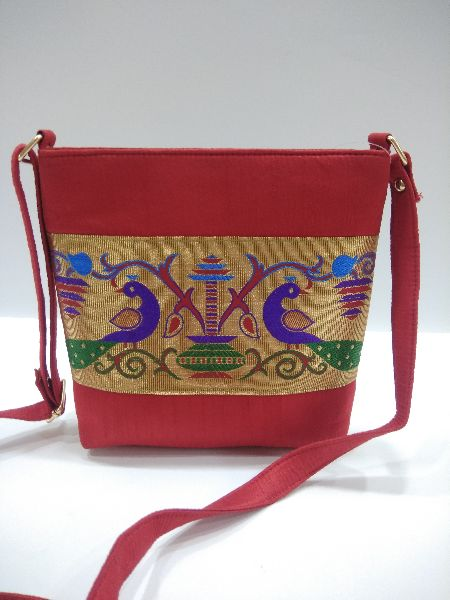 Semi Paithani Sling Red