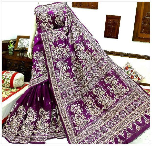 Silk Kantha Stich Saree