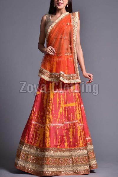 Banglory Embroidered Silk Orange Lehenga Choli