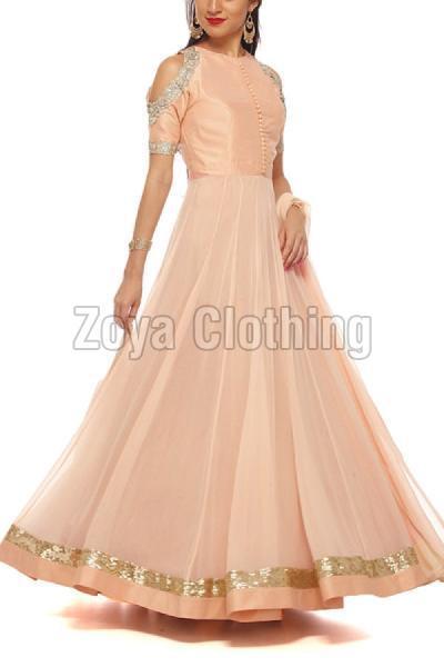 Cotton Silk Machine Work Orange Gown