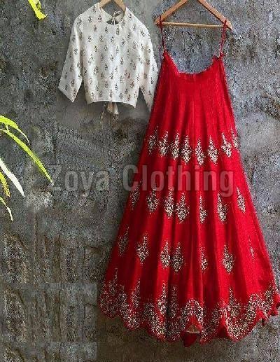 Cotton Silk Machine Work Red Lehenga Choli