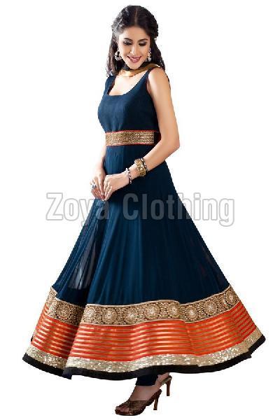 Cotton Silk Navy Blue Anarkali Suits