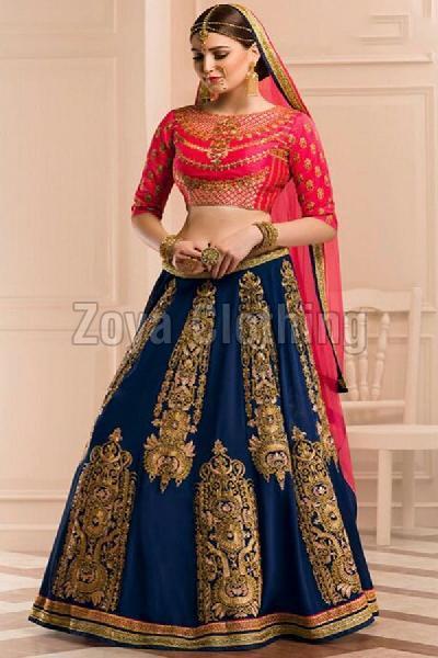 Cotton Silk Zari Work Blue Lehenga Choli