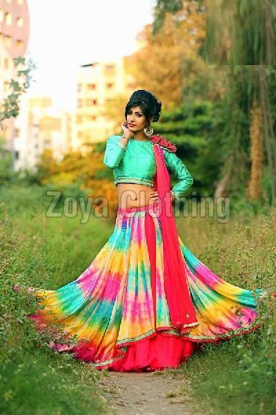 Crepe Lace Work Printed Multicolour Lehenga Choli