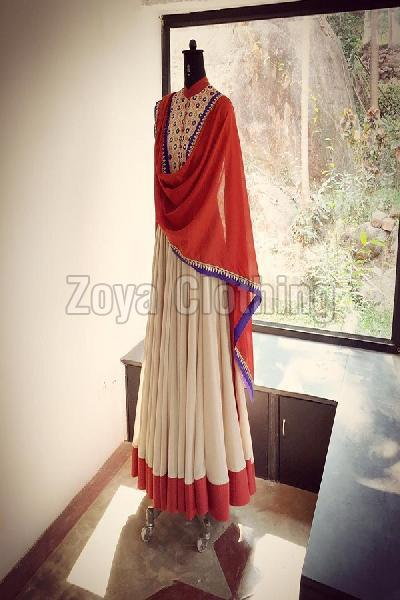 Georgette Plain Cream and Red Anarkali Suits