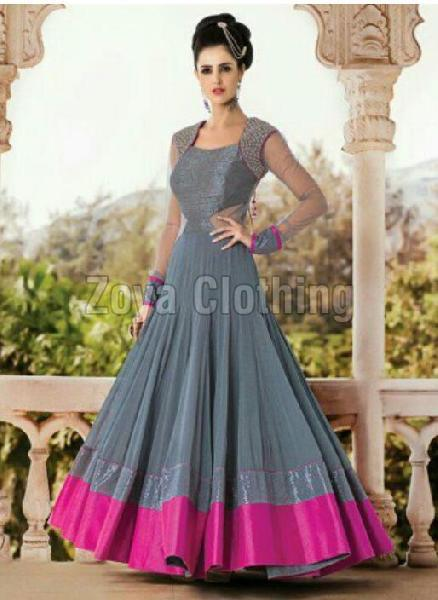 Grey And Pink Georgette Anarkali Suits