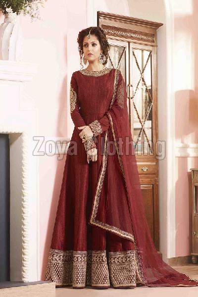 Poly Cotton Border Work Maroon Long Suits