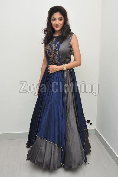 Poly Silk Grey & Blue Plain Long Suits