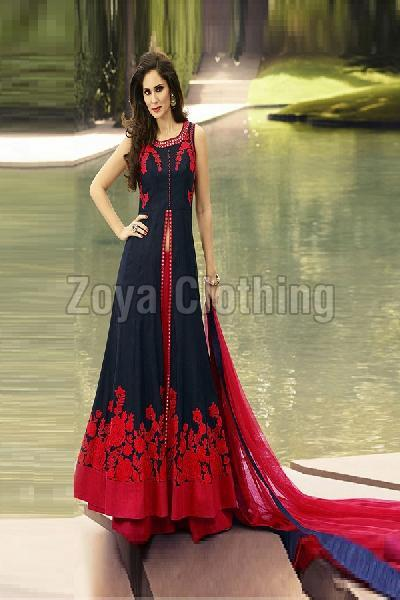 Poly Silk Machine Work Blue and Red Long Suits