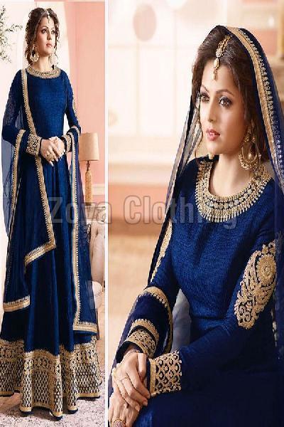 Poly Silk Machine Work Blue Long Anarkali Suits