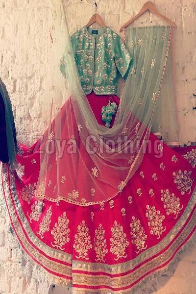Poly Silk Machine Work Red Lehenga Choli