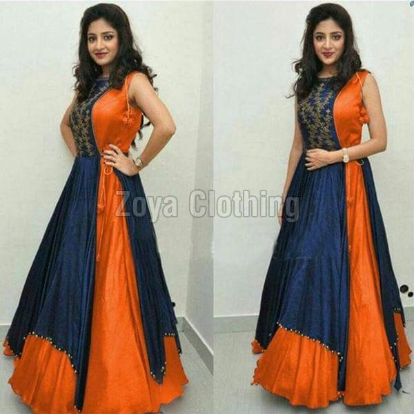 Poly Silk Orange & Blue Plain Long Suits
