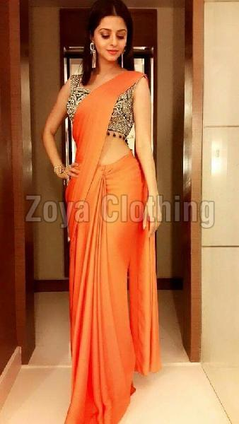 Poly Silk Plain Orange Sarees