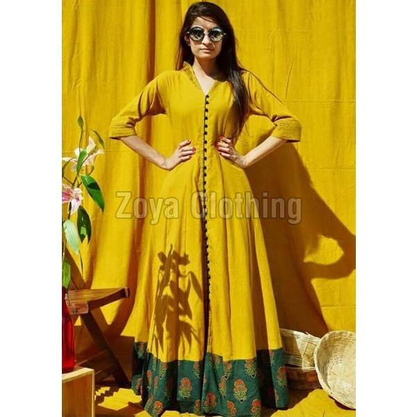 Poly Silk Printed Yellow Long Suits