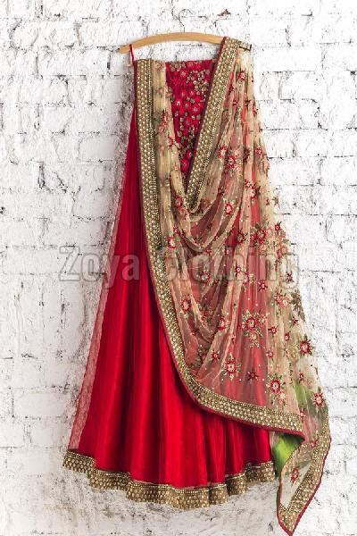 Poly Silk Red Embroidered Lehenga Choli