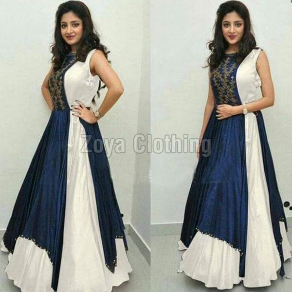 Poly Silk White & Blue Plain Long Suits